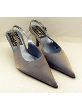 Zapato Mujer de Fiesta Raso Azul Cielo Talón Abierto