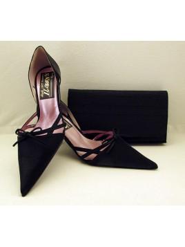 Zapato Mujer de Fiesta Raso Negro Abierto Lados