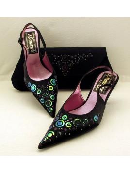 Zapato Mujer de Fiesta Raso Negro Talón Abierto