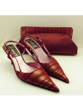 Zapatos de mujer de fiesta Color Burdeos con el talón abierto