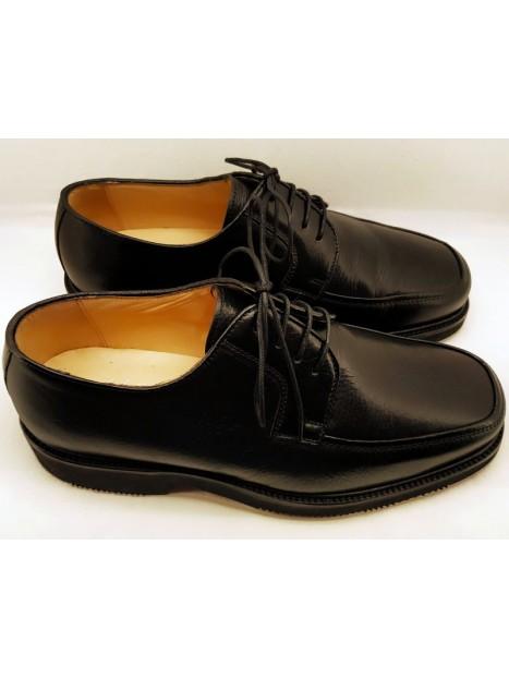 Zapato Cordón Mocasín Negro Ancho Especial